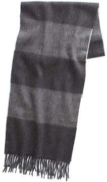 Drakes Drake's Large Stripe Scarf in Charcoal