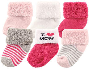 Luvable Friends White & Fuchsia 'I Heart Mom' Six-Pair Socks Set - Infant