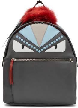 Fendi Grey Nylon and Fur Bag Bugs Backpack