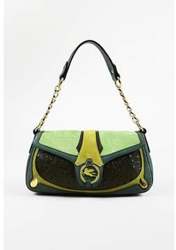 Etro Pre-owned Green Multicolor Leather Ostrich Skin & Pony Hair Flap Bag.