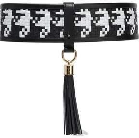 Balmain Tasseled Two-Tone Woven Leather Belt