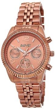 August Steiner Multi-Function Rose Dial Rose Gold-tone Ladies Watch