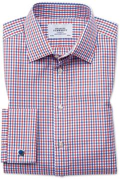 Charles Tyrwhitt Classic Fit Two Color Check Red and Blue Cotton Dress Shirt Single Cuff Size 17/34