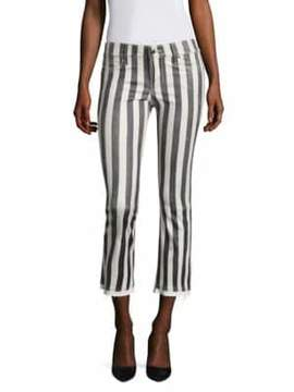 RtA Kiki Striped Flare Leather Cropped Pants