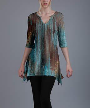 Azalea Turquoise & Brown Notch Neck Tunic - Women & Plus