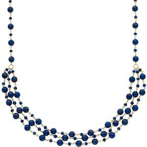 Lapis Kohl's 14k Gold Lazuli Beaded Swag Necklace