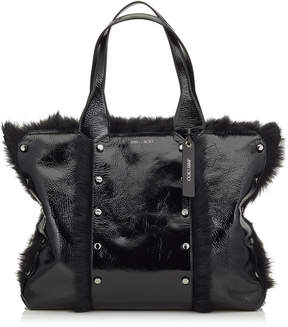 Jimmy Choo LOCKETT SHOPPER Black Shiny Naplack Tote Bag with Shearling