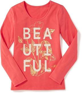 Old Navy Fitted Scoop-Neck Graphic Tee for Girls