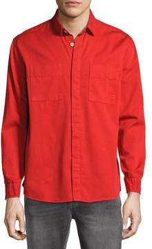Nudie Jeans Over-Dyed Organic Cotton Sport Shirt, Red