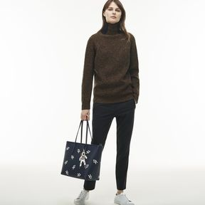 Lacoste Women's Chantaco Zippered Astronaut Print Leather Tote Bag