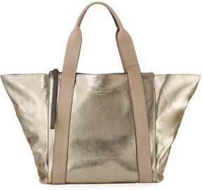 Brunello Cucinelli Metallic Leather Zip-Top Tote Bag