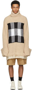 J.W.Anderson Beige Check Panel Turtleneck