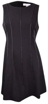 Calvin Klein Women's Petite Piped Fit & Flare Dress