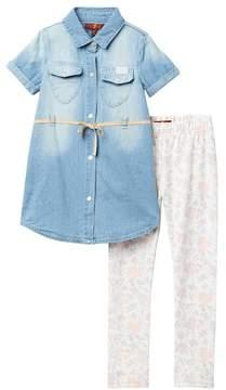 7 For All Mankind Denim Shirt Dress & Legging Set (Toddler Girls)