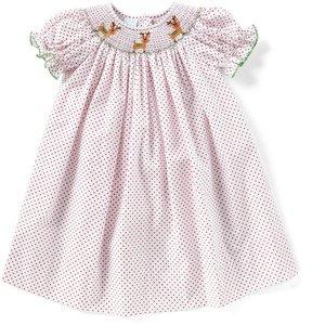 Edgehill Collection Little Girls 2T-4T Christmas Smocked Reindeer Dress
