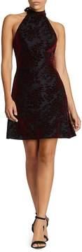 Dress the Population Miranda Velvet Fit & Flare Halter Dress