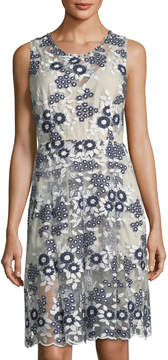 T Tahari Floral-Embroidered Dress