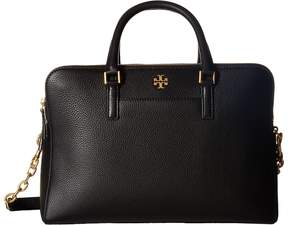 Tory Burch Georgia Pebbled Double-Zip Satchel Satchel Handbags - BLACK - STYLE