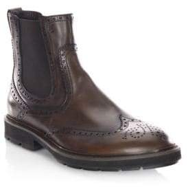 Tod's Brogued Leather Chelsea Boots