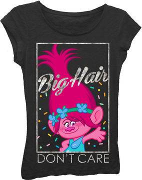Asstd National Brand Trolls Girls' Big Hair Don't Care Short Sleeve Graphic T-Shirt with Silver Metallic