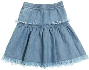 Finger In The Nose Fringed Denim Skirt