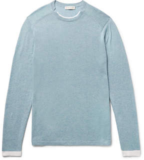 Etro Slim-Fit Contrast-Tipped Mélange Cotton And Cashmere-Blend Sweater