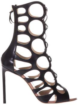 Francesco Russo Black Cut Out Sandals In Leather