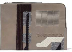 Rick Owens Bead-Embellished Appliquéd Leather Pouch
