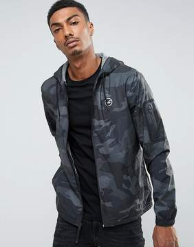 Hollister Windbreaker Jacket Jersey Lined in Black Camo