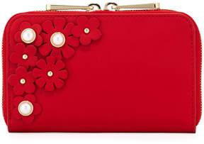 Zac Posen Earthette Leather Flower Wallet, Red