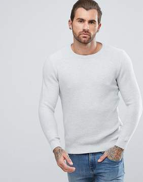 Pull&Bear Crew Neck Textured Sweater In Light Gray