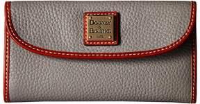 Dooney & Bourke Pebble Continental Clutch Clutch Handbags - STONE/TAN TRIM - STYLE