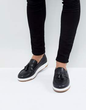 Asos Loafers In Black Leather With White Sole