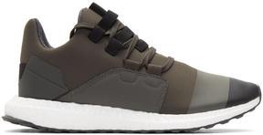 Y-3 Khaki and Black Kozoko Low Sneakers