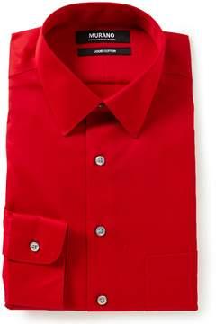 Murano Liquid Cotton Slim-Fit Point-Collar Solid Dress Shirt