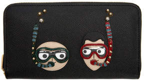 Dolce & Gabbana Black Scuba DGFamily Zip Around Wallet