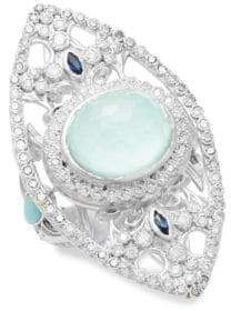 Armenta New World Reconstituted Green Turquoise, Opal, Sapphire, Diamond & Sterling Silver Ring