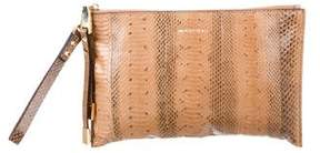 Michael Kors Snakeskin Zip Clutch - BROWN - STYLE