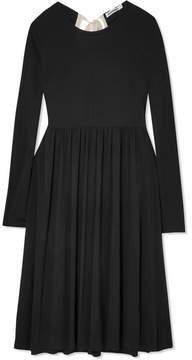 Jil Sander Oversized Canvas-trimmed Jersey Midi Dress - Black