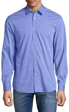 Report Collection Men's Embroidered Cotton Button-Down Shirt
