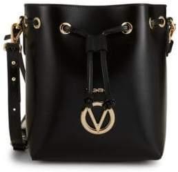 Mario Valentino Logo Leather Bucket Bag