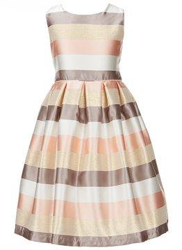 Jayne Copeland Big Girls 7-12 Metallic Stripe Taffeta Dress