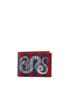 Gucci Snake-Print Striped Leather Wallet