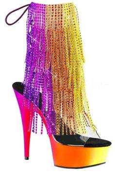 Pleaser USA Women's Rainbow 1017RSF-6 Fringed Open-Toe Bootie