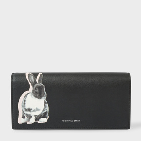 Women's Black 'Lucky Rabbit' Print Leather Tri-Fold Purse