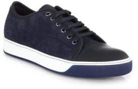 Lanvin Croc-Embossed Leather Sneakers