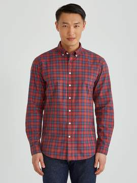Frank and Oak The Paolo Garment Dyed Soft Oxford Plaid in Ketchup/Navy