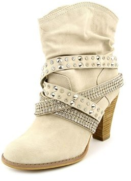Not Rated Overload Women Round Toe Synthetic Ivory Ankle Boot.