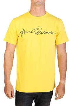 Pierre Balmain Men's Graphic Cursive Logo Crewneck T-shirt Yellow.