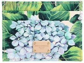 Dolce & Gabbana Hydrangea Print Leather Card Holder - GREEN - STYLE